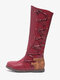 Women Large Size Stitching Decoration Non Slip Mid Calf Flat Boots - Red