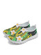 SOCOFY Large Size Fashion Sport Bohemian Printed Net Cloth Breathable Slip Resistant Comfy Slip On Walking Shoes Unisex Sneakers - Yellow