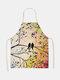 木と鳥の絵のパターンのクリーニングColorfulエプロン家庭料理キッチンエプロンクックウェアコットンリネン大人のよだれかけ - #13