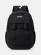 Casual Oxford Cloth Double Release Buckle Decor 15.6 Inch Laptop All-match Backpack - Black