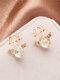 Christmas Crystal Gem Women Ear Stud Stereoscopic Reindeer Earrings - #09
