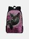 Women Oxford Large Capacity Cat Pattern Printing Backpack - Purple