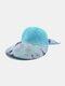 Women Cotton Linen Butterfly Flower Pattern Printing Big Brim Breathable Straw Hats - Blue