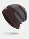 मेन विंटर Plus वेलवेट स्ट्राइप्ड पैटर्न आउटडोर लंबे बुना हुआ गर्म बेनी टोपी - कॉफ़ी