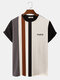 Mens Striped Patchwork Crew Neck Knit Short Sleeve Preppy T-Shirts - Gray