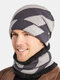 Men 2PCS Striped Plus Velvet Thick Winter Outdoor Keep Warm Neck Protection Headgear Scarf Knitted Hat Beanie - Gray