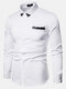 Mens Sequin Patchwork Chest Pocket Lapel Long Sleeve Casual Shirts - White
