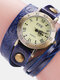 Vintage Cowhide Nicked Women Watch Roman Numeral Leather Circle Wrist Watch - Blue