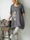 Flower Print Casual Plus Size Blouse for Women - Grey