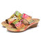 SOCOFY Retro Leather Contrast Floral Stitching Slip on Wedge Slides Sandals - Pink