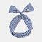 Cute Bow Hairband Straight Wire Hairband White Dot Stripe Fabric Cross Headband - #06
