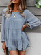 Solid Long Sleeve O-neck Loose Blouse for Women - Blue