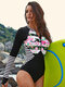 Zip Front Floral Print Long Sleeve Surfing One Piece Wetsuit