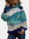 Landscape Print Casual Long Sleeve Hoodie For Women - Navy