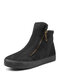 Women Solid Color Suede Side Zipper Casual Warm Snow Ankle Boots - Black