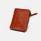 Men Genuine Leather RFID Anti-theft Multi-slots Retro Large Capacity Foldable Card Holder Wallet - Orange