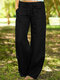Casual Drawstring Solid Color Pants with Pockets - Black