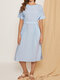 Solid Color O-neck Pockets Short Sleeve Zip Button Casual Dress - Blue