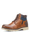 Men Side Zipper Lace-up Splicing Warm Lined Casual Boots - Brown