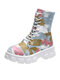 Women Casual Blue Camouflage Pattern Comfy Platform Tooling Boots - Light Blue