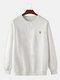 Mens Cotton Flocking Sun Embroidery Loose Fit Crew Neck Sweatshirts - White