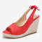 LOSTISY Women Comfy Breathable Slingback Casual Espadrilles Wedges Sandals - Red