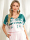 Tie-dye Print O-neck Short Sleeve Casual T-Shirt for Women - Pink