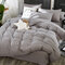 3/4 Pcs Non-printing Skin-washing Cotton Four-piece Quilt Cover Bedding Sets Single Double Bed Three-piece - Grey