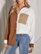 Casual Two Tone Patchwork Long Sleeve Plus Size Shirt - Brown
