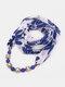 Vintage Chiffon Women Scarf Necklace Beaded Pendant Lattice Flowers Pattern Silk Scarf - #13