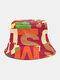 Lettera in cotone unisex Modello Stampa Colorful Cappello da pescatore fashion - Rosso