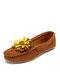 女性の花の装飾手縫いローファーカジュアルフラットシューズの快適なウェアラブルスリップ - 褐色