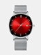Alloy Business Gradient Color Multi-function Mesh Strap Watch - Sliver+Red