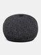 Men Woolen PU Patchwork Knitted Fine Lattice Pattern Hidden Ear Protection Casual Warmth Beret Flat Cap - Dark Gray