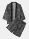 Ethnic Style Pattern Lounge Sets Kimono Tops and Knee Length Shorts Homewear for Men - Black