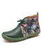LOSTISY Flowers Pattern Splicing Solid Color Round Toe Comfy Lace-up Flat Ankle Boots - Green