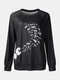 Print O-neck Long Sleeve Plus Size Casual T-shirt for Women - Black
