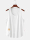 Mens Simple Solid Multi Color Casual Breathable Sleeveless Tank Top - White