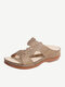 Women Rhinestone Carved Hollow Slippers Comfy Slip On Casual Wedges Sandals - Khaki