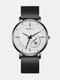 Alloy Steel Business Casual Mesh Belt Calendar Mens Quartz Watch - White+Black