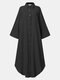 Solid Color Hollow Button Pocket Long Sleeve Casual Dress for Women - Black