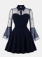 Solid Color Lapel Bell Sleeve Plus Size Mesh Dress for Women - Navy