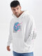 Plus Size Mens Floral Text Graphic Japanese Style Casual Drawstring Hoodies - White