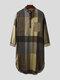 Mens Cotton Ethnic Gingham Kaftan Calf-Length Shirts Design Breathable Casual Robes - Brown