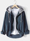 Mens Corduroy Designer Solid Color Daily Button Up Drawstring Hooded Shirt - Navy