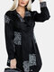 Pleated Letter Print Long Sleeve Casual Long Shirt For Women - Black
