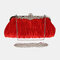 Bling Sequin Evening Purse Large Clutch Bag - Red