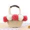 Women Travel Woven Beach Bag Cute Contrast Plush Ball Straw Handbag  - Red
