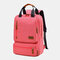 Women Waterproof School Bag Solid Large Capacity Backpack - Pink
