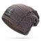 Mens Winter Plus Velvet Warm Knitted Hat Casual NC Letter Solid Skullies Beanie Hat - Khaki